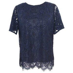Nanette Lepore Lace Blouse Navy Blue Lined Top